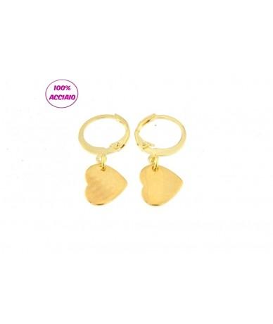 orecchini acciaio piccoli cerchi con pendente cuore colore oro
