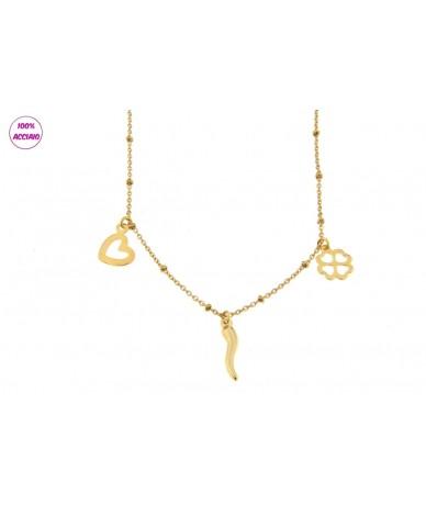 collana acciaio colore oro con catena a sfere e pendenti cornetto quadrifoglio cuore