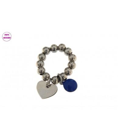 anello acciaio elastico con pendente cuore e tondo smaltato blu