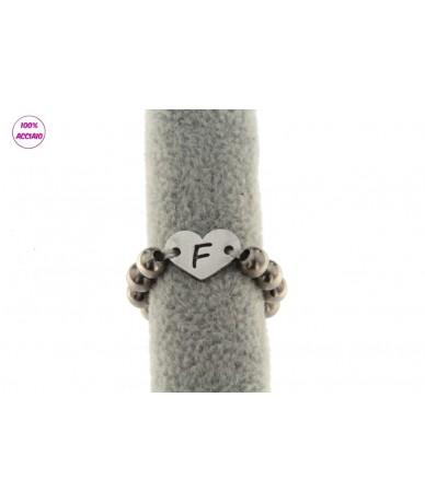 anello accialio elastico con inziale a scelta