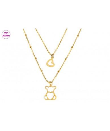 collana doppia catena in acciaio colore oro con pendente orsetto e cuore
