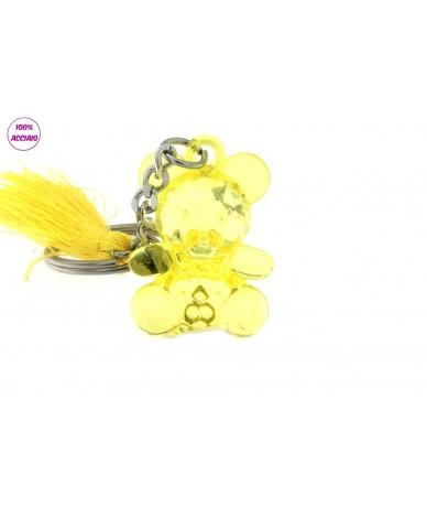 portachiavi acciaio con orsetto colore giallo
