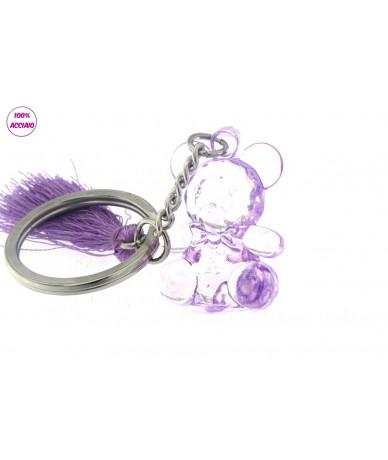 portachiavi acciaio con orsetto colore viola