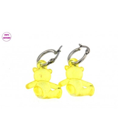 orecchini cerchi in acciaio con orsetto colore giallo