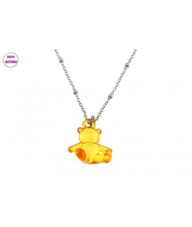 collana acciaio lunga 45 cm con orsetto piccolo colore arancio