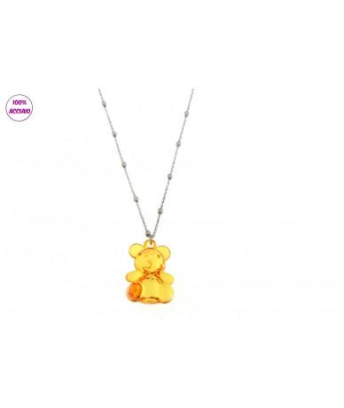 collana acciaio lunga 60cm con orso grande colore arancio