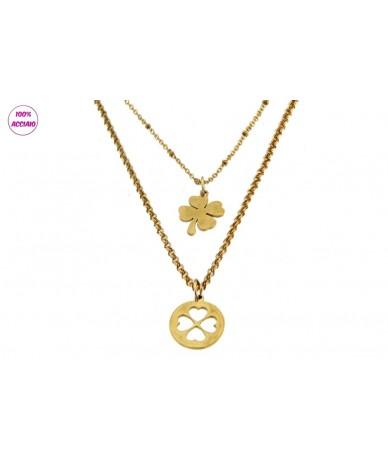 collana acciaio colore oro doppia catena con pendenti quadrifoglio