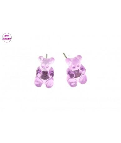 orecchini acciaio con orsetto in plastica