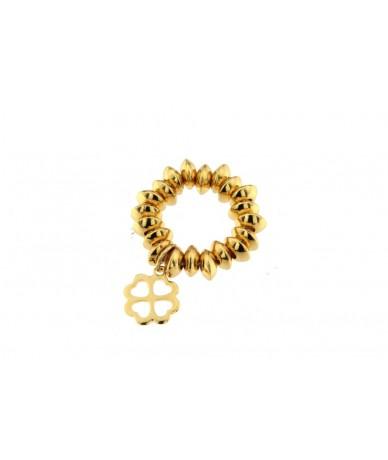 anello elastico con pendente quadrifoglio in acciaio anallergico con finitura color oro