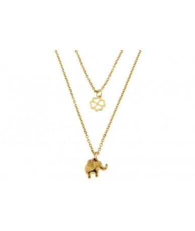 collana con pendente elefante e quadrifoglio in acciaio anallergico con finitura color oro