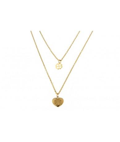 collana con pendente cuore e quadrifoglio in acciaio anallergico con finitura color oro