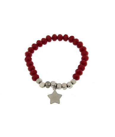 bracciale elastico in vetro colore rosso con cubi e pendente stella in acciaio anallergico
