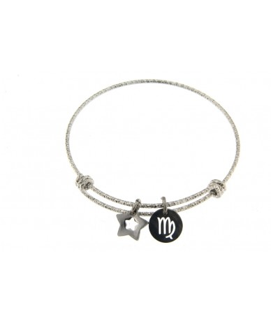 bracciale rigido in acciaio anallergico con segno zodiacale Vergine