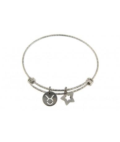 bracciale rigido in acciaio anallergico con segno zodiacale Toro