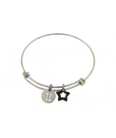 bracciale rigido in acciaio anallergico con segno zodiacale Gemelli