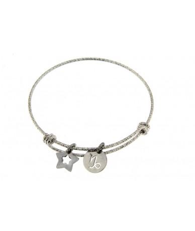 bracciale rigido in acciaio anallergico con segno zodiacale Capricorno