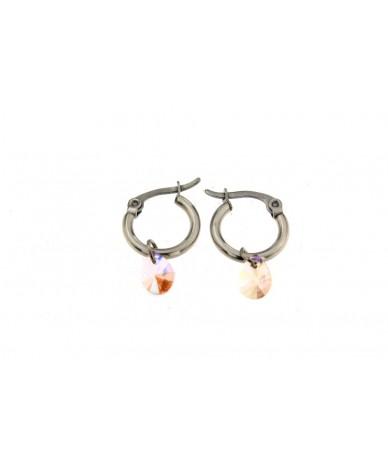 orecchini cerchi in acciaio anallergico con goccia in vetro rosa