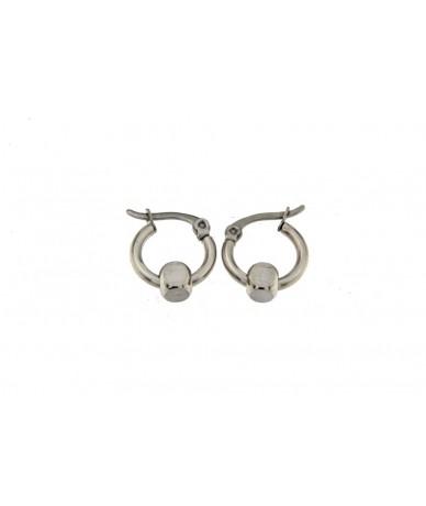 orecchini cerchi in acciaio anallergico con cubo