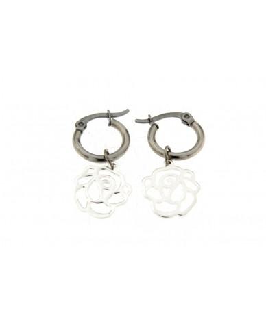 orecchini cerchi in acciaio anallergico con pendenti fiore