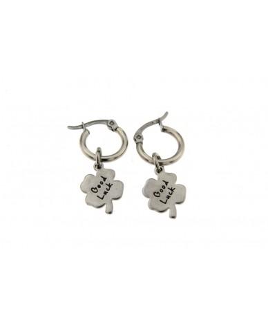 orecchini cerchi in acciaio anallergico con pendenti quadrifoglio good luck