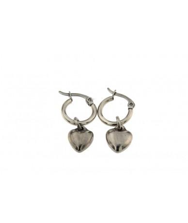 orecchini cerchi in acciaio anallergico con pendenti cuore