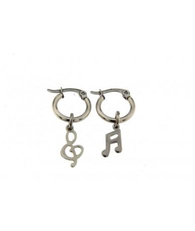 orecchini cerchi in acciaio anallergico con note muicali