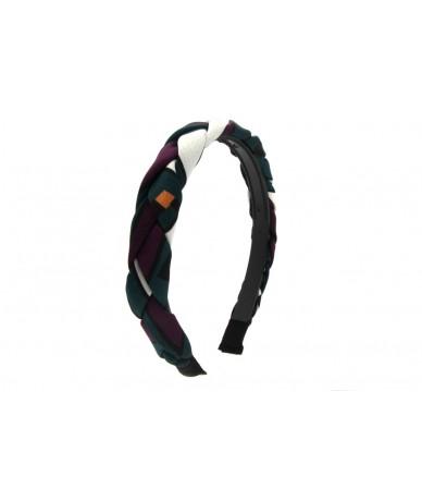 cerchietto per capelli treccia di stoffa colore verde viola bianco