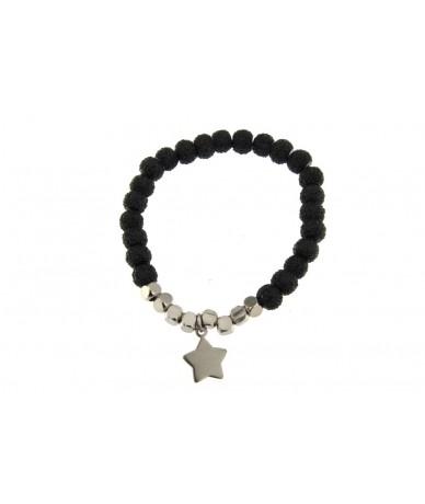 bracciale elastico in vetro colore nero brillante con cubi e pendente stella in acciaio