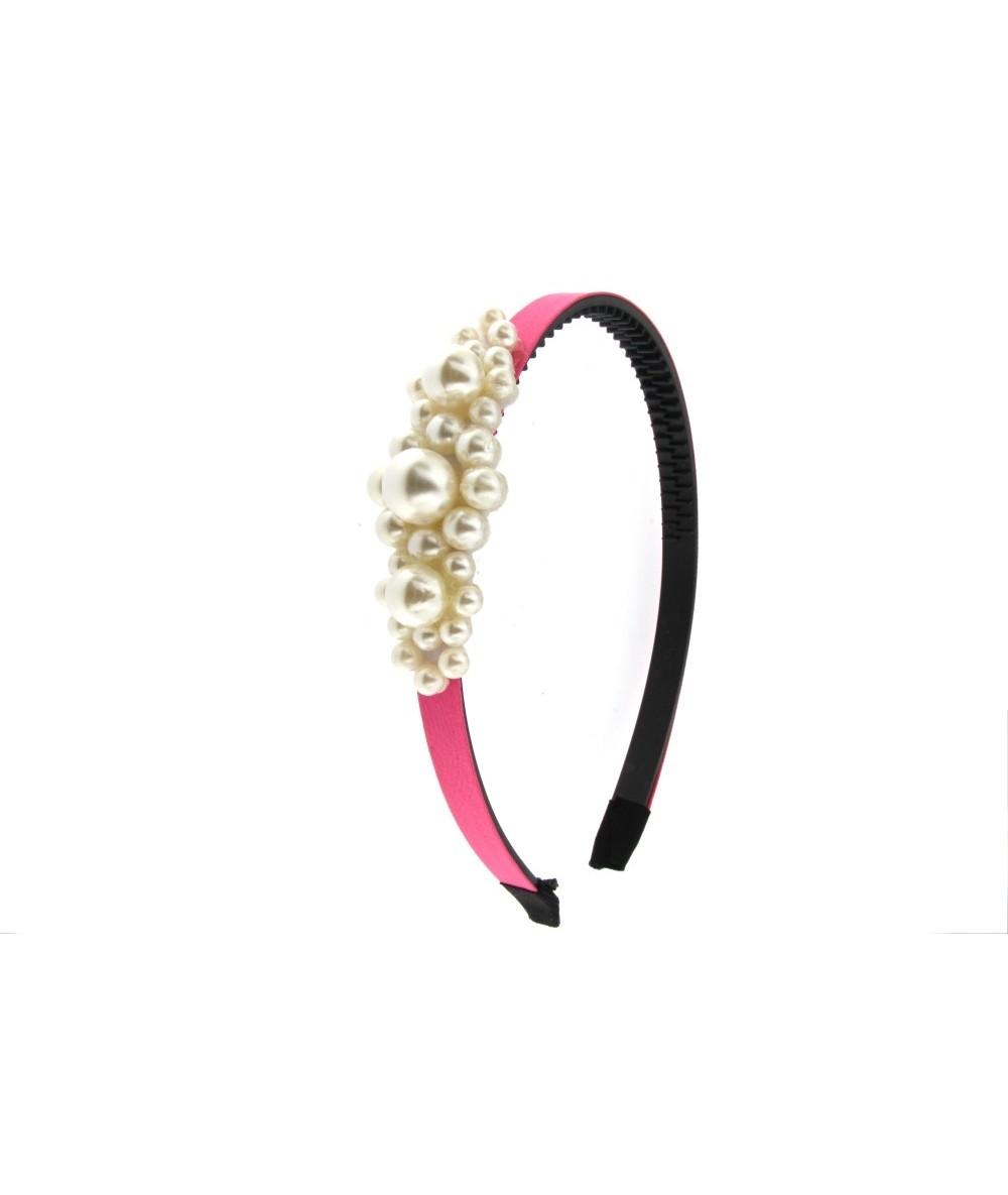 cerchietto per capelli elegante in stoffa colore fucsia con decoro di perle