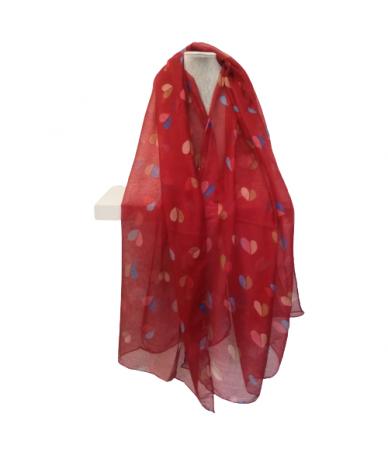 foulard donna fantasia cuori colore rosso