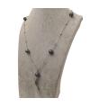 collana lunga in acciaio con cornetto pendente e sfere i ceramica colore grigio