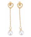 orecchinilunghi in acciaio con cuore e perle finitura oro